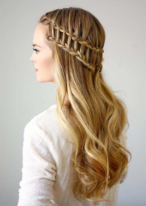 100 Ridiculously Awesome Braided Hairstyles: Half-Up Ladder Braids