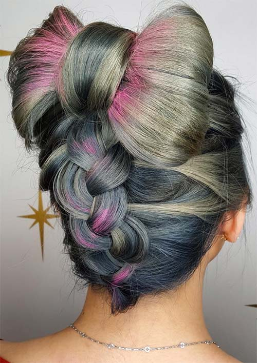 100 Ridiculously Awesome Braided Hairstyles: Reverse Braided Bow Updo