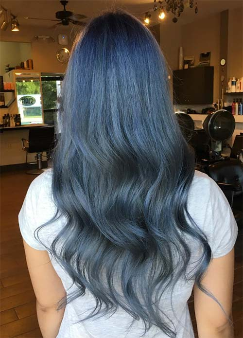 Blue Denim Hair Colors: Stormy Ocean Coif