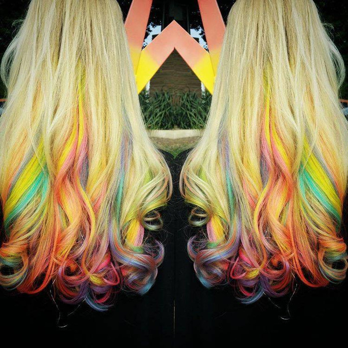 The Fruity Pebbles Hair Trend is Taking Over Instagram Blonde Hair with colorful highlights