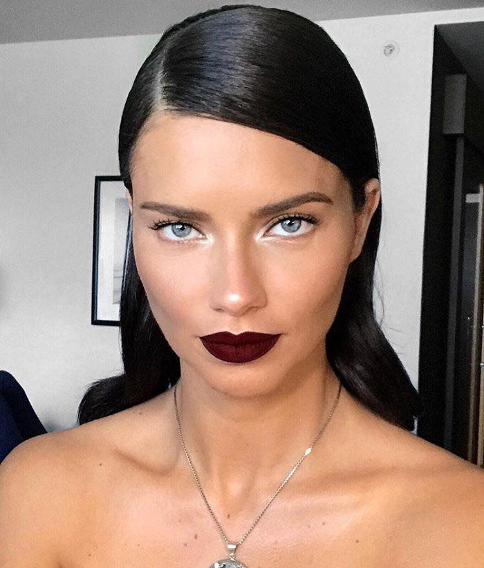 Burgundy Lips Celeb Guide on How To Rock The Most Autumnal Lip Color Adriana Lima