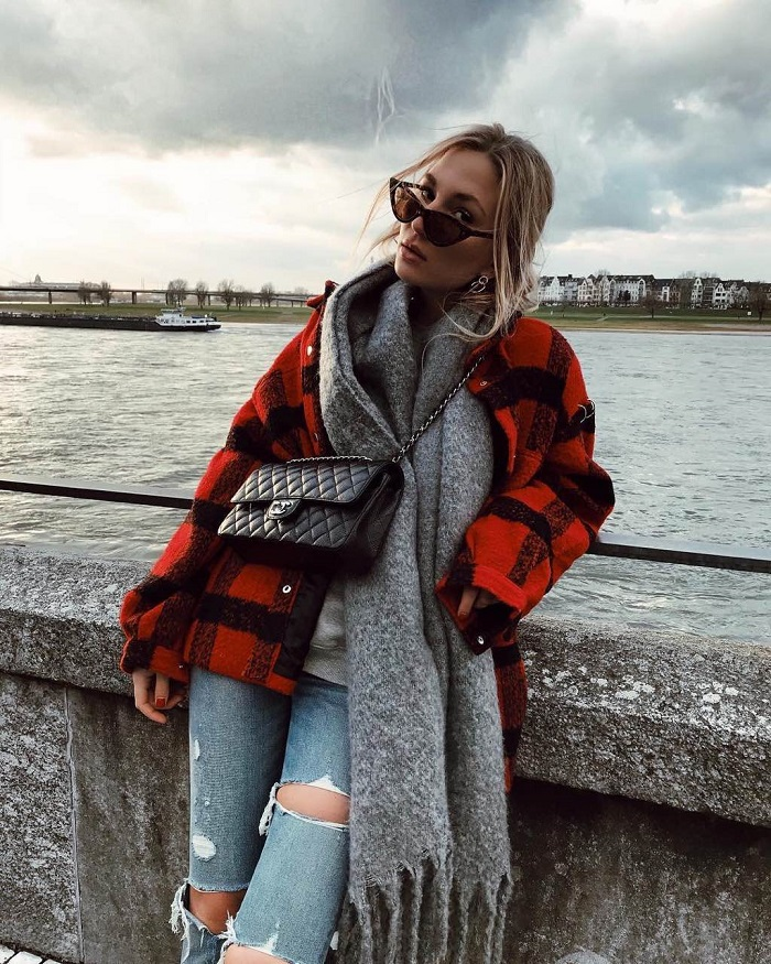Elevate Your Winter Denim With Ripped Jeans jeans check coat gray scarf