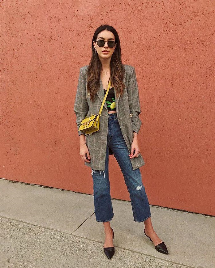 Plaid Craze Involve Chic Checks in Your Spring Looks plaid blazer jeans