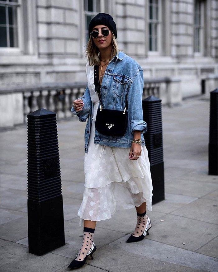 Socks and Heels Is the Statement Combo You Need in Your Life white dress denim jacket