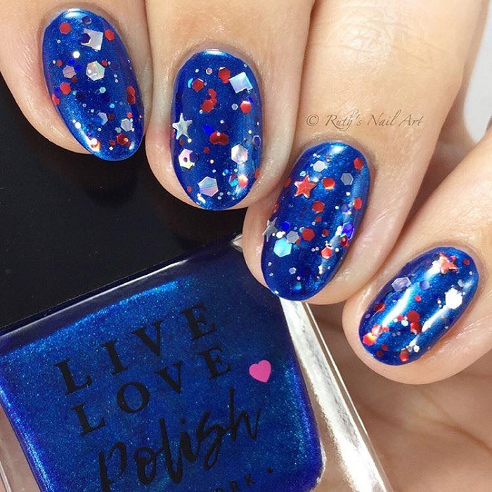 4th Of July Nail Inspo to Celebrate Independence Day with Style glittery nails