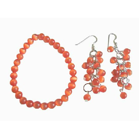 Dark Orange Cats Eye Stone Bead Sterling Chandelier Earrings Bracelet