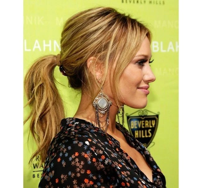 Hilary Duff Messy Ponytail Look