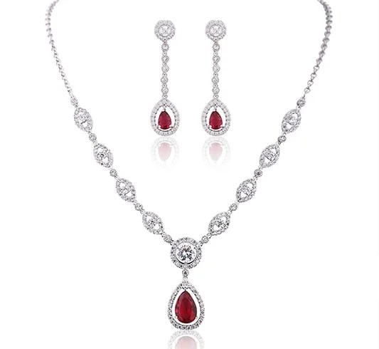 Silver Plated Base Ruby Color Red Jewelry Set