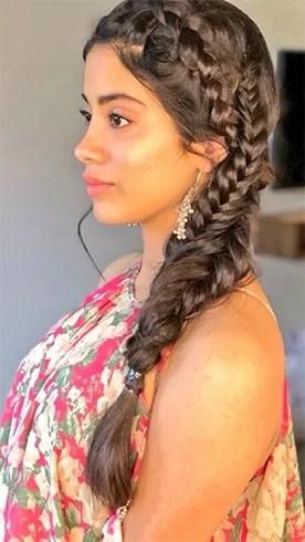 Jhanvi Kapoor Side Fishtail Braid