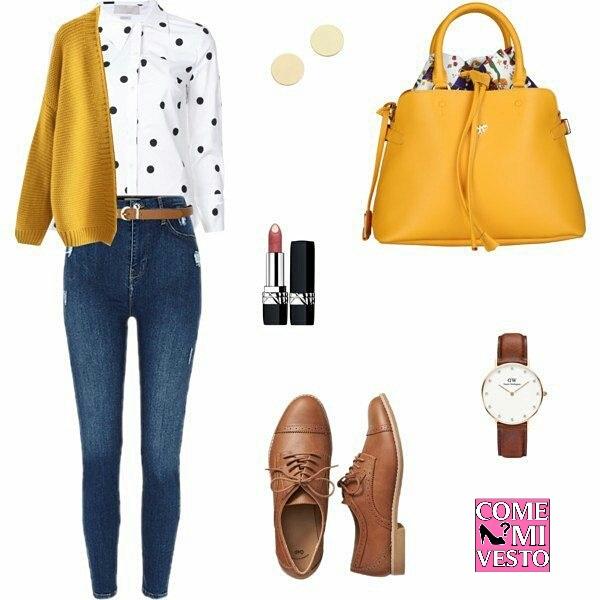 scegliere i jeans con abbinamenti giallo