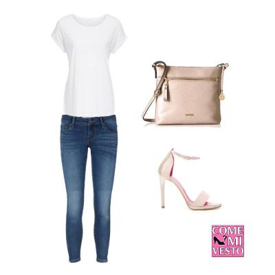 t shirt bianca e jeans