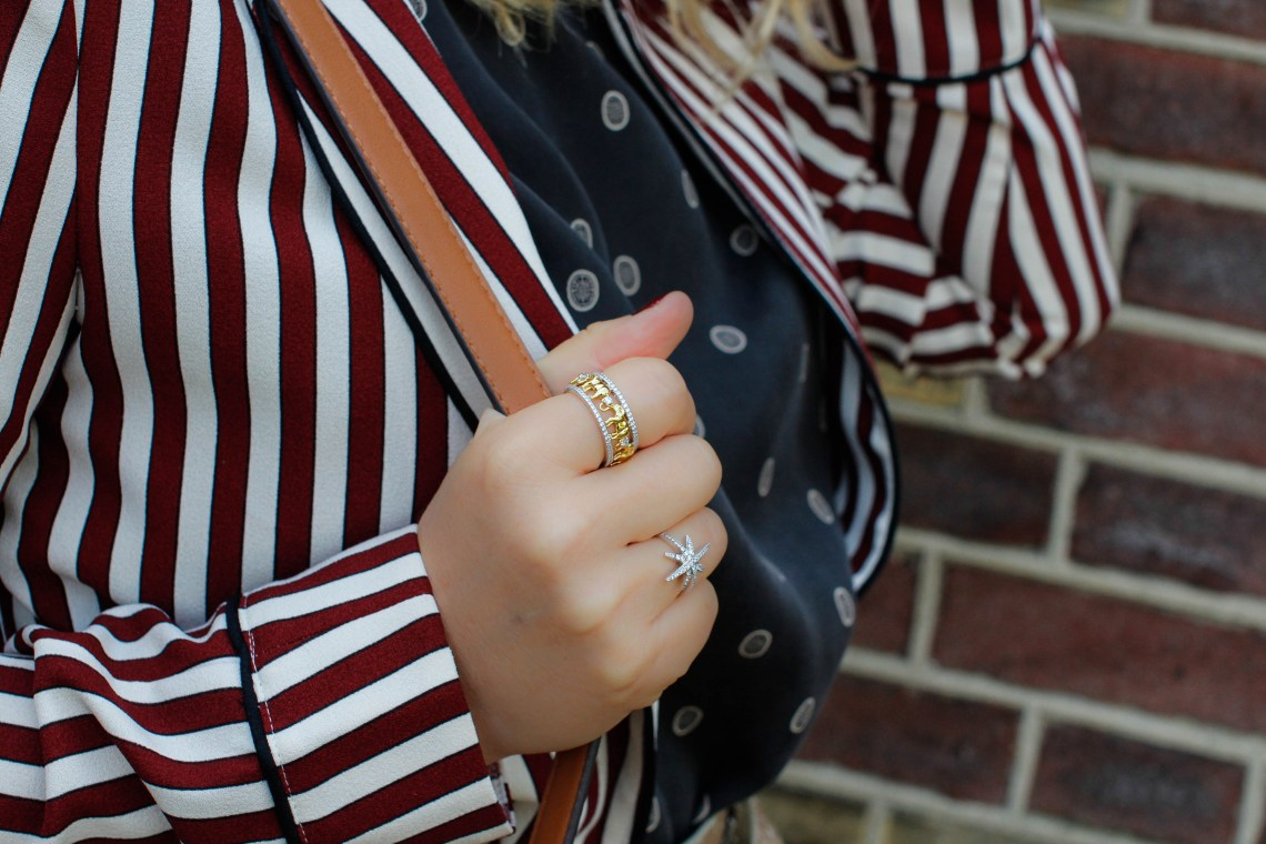 belts for fall red stripes white sapphire ring