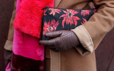 Color Block Faux-Fur Scarf // Poinsettias Clutch