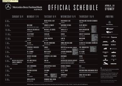 MBFW Australia 2014 Schedule