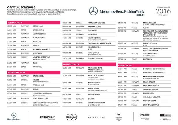 FINALER SCHAUENPLAN DER MERCEDES-BENZ FASHION WEEK BERLIN Frühjahr Sommer 2016