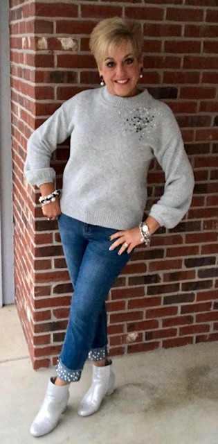 cb359f25379 Embellished Sweater with Embellish Stein Mart Jeans and Silver Metallic  Booties