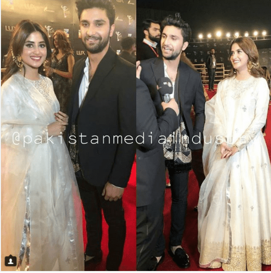 Sajal Aly with Ahad Raza Mir at Lux Style Awards 2018 | Azaadpakistan