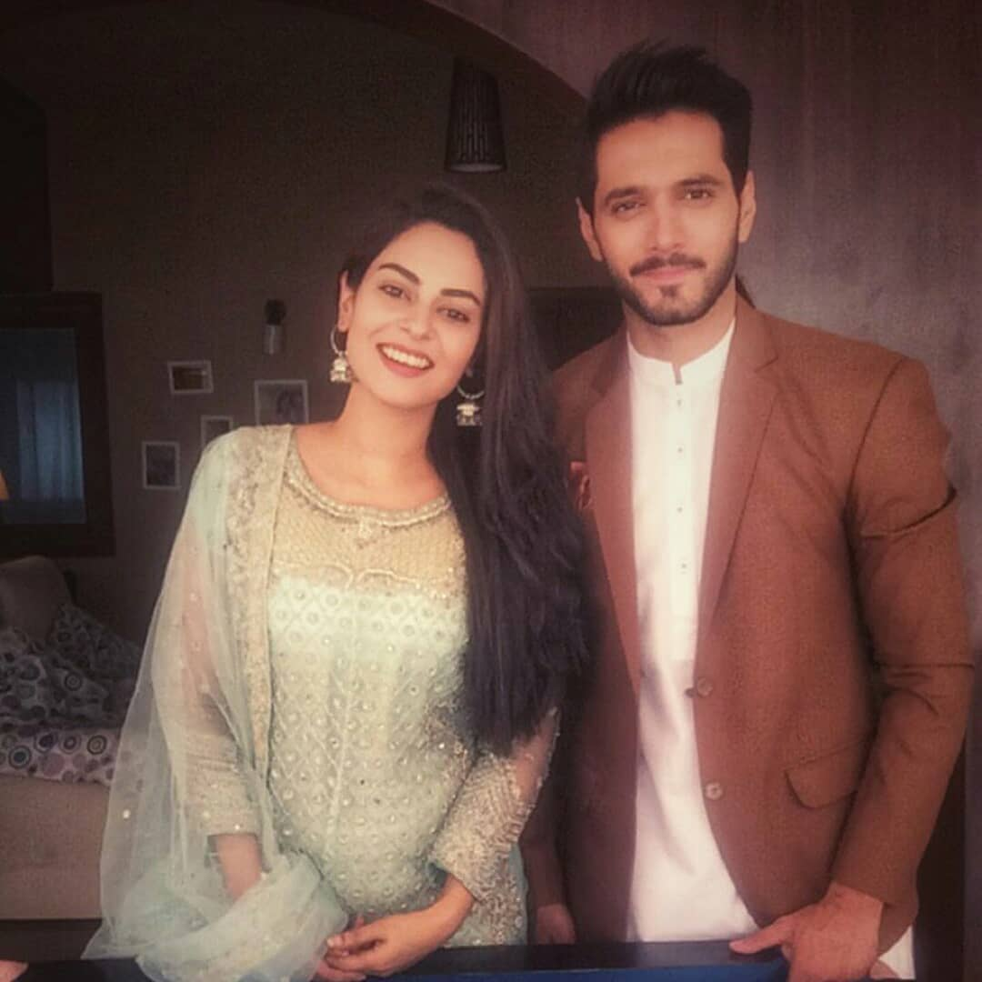 Beautiful Amar Khan With Wahaj Ali On Set Of Their