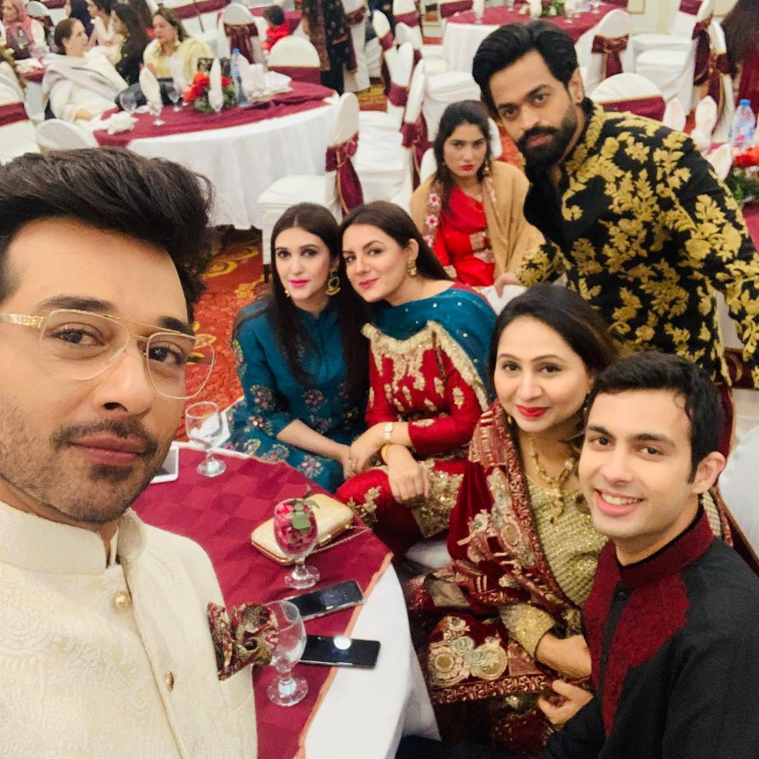 Famous Actor Faysal Qureshi with his Wife and Daughter Wedding Event