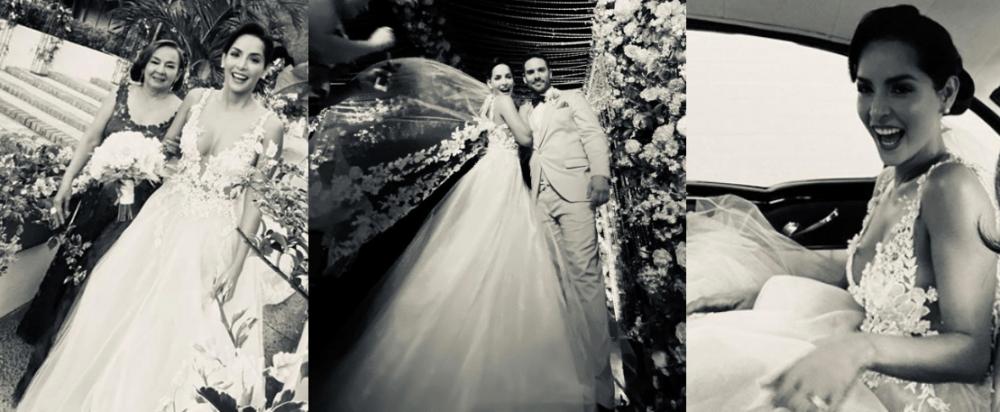 Carmen Villalobos en el día de su boda vestida de Jorge Duque Vélez