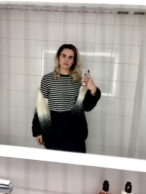 Pixie Tenenbaum at SHOW DRY blow dry salon at Notting hill after having hair blowdried and braided