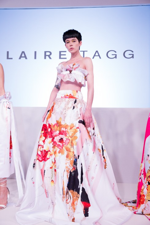 Claire Tagg FW18 London Fashion Week a deconstructed ballgown in a soft clean colour palette