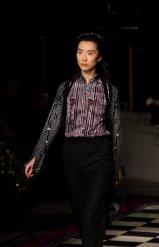 A model in the Apu Jan FW18 show at London Fashion Week wearing a shirt