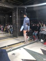 Fortie Label FW18 denim skirt and jacket on the runway at London Fashion Week