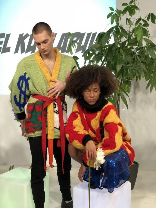 Kristel Kuslapuu FW18 Presentation at London Fashion Week 2 models posing in brightly coloured knitwear