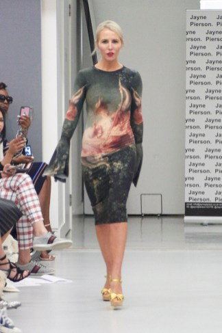 Naomi Isted on the runway for Jayne Pierson SS19 wearing a hand painted dress with bell sleeves (Fashion Voyeur Blog)