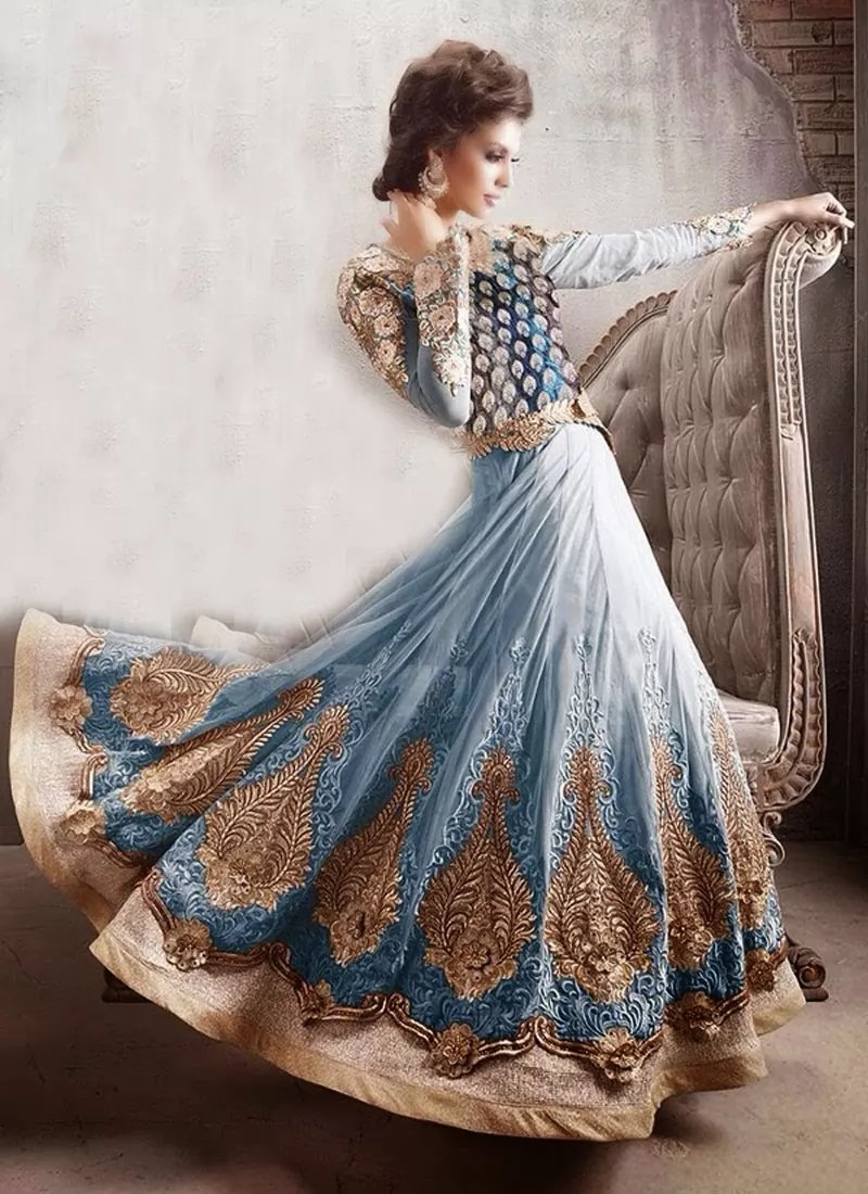Awesome Resham Work Net Long Lenth Anarkali Suit