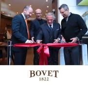 From left to right, Michael Rosenberg, Oscar Award winning film director Paul Haggis, Mr. Pascal Raffy, Jeffrey Khalaf cut the ribbon at the Bovet boutique opening.