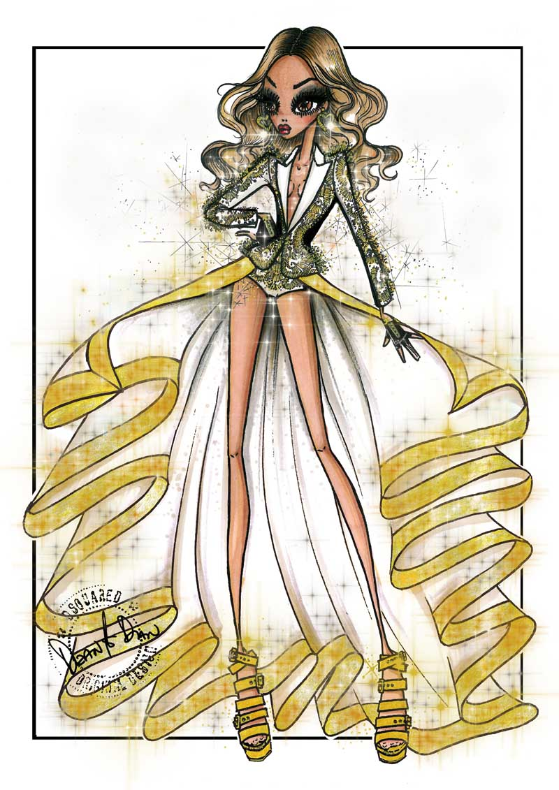 beyonce costume by dsquared2 sketch