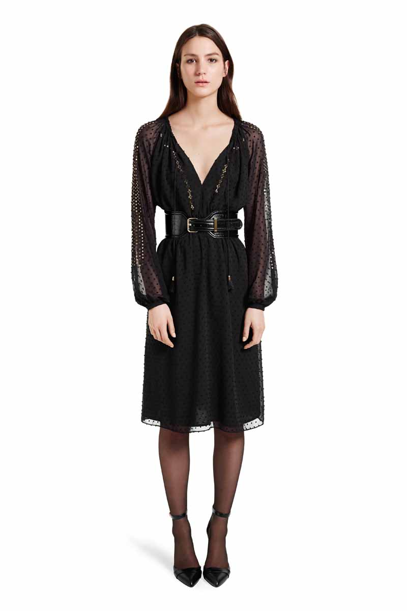 For effortless glamour that moves easily from day to night, go for hints of sheer and sparkle. The chic polish of a cinched waist mixes perfectly with this romantic dress. LOOK 1 Embroidered Romanian Dress in Black Swiss Dot, $54.99** Croc Effect Belt in Black, $29.99** Ankle Strap Shoe in Black, $39.99* *TARGET.COM EXCLUSIVE ** AVAILABLE GLOBALLY ON NET-A-PORTER.COM