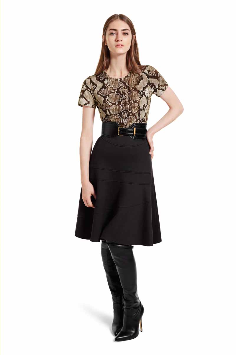 These black over-the-knee boots add an instant hit of seductive glamour. Wear them with the python T-shirt for a downtown cool that balances perfectly with the feminine skirt. LOOK 10 Tee Shirt in Python Print, $17.99 Flounce Skirt in Black Pointe, $34.99 Croc Effect Belt in Black, $29.99** Over-the-Knee Boot with Tassels in Black, $79.99 ** AVAILABLE GLOBALLY ON NET-A-PORTER.COM