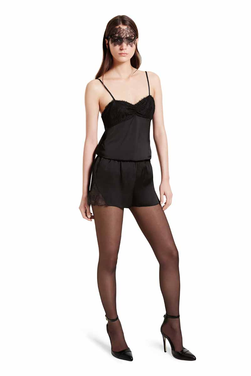 Update your bedroom attire with this sophisticated combination of the satin cami and delicate lace mask. The perfect look for staying glamorous at all hours. LOOK 18 Satin Cami Set in Black (mask included), $34.99** Ankle Strap Shoe in Black, $39.99* *TARGET.COM EXCLUSIVE ** AVAILABLE GLOBALLY ON NET-A-PORTER.COM