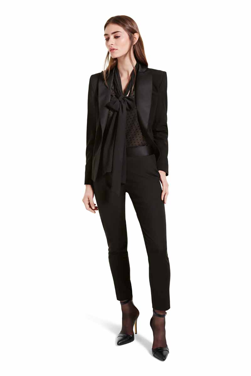Tailored, sleek lines and luxurious tonal detailing make this tuxedo suit supremely elegant. Combine with the black bow blouse for smoldering sophistication. LOOK 23 Peplum Blazer in Black, $54.99** Bow Blouse in Black Swiss Dot, $34.99* ** Tuxedo Ankle Pant in Black, $34.99** Ankle Strap Shoe in Black, $39.99* *TARGET.COM EXCLUSIVE ** AVAILABLE GLOBALLY ON NET-A-PORTER.COM