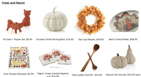 crate and barrel thanksgiving