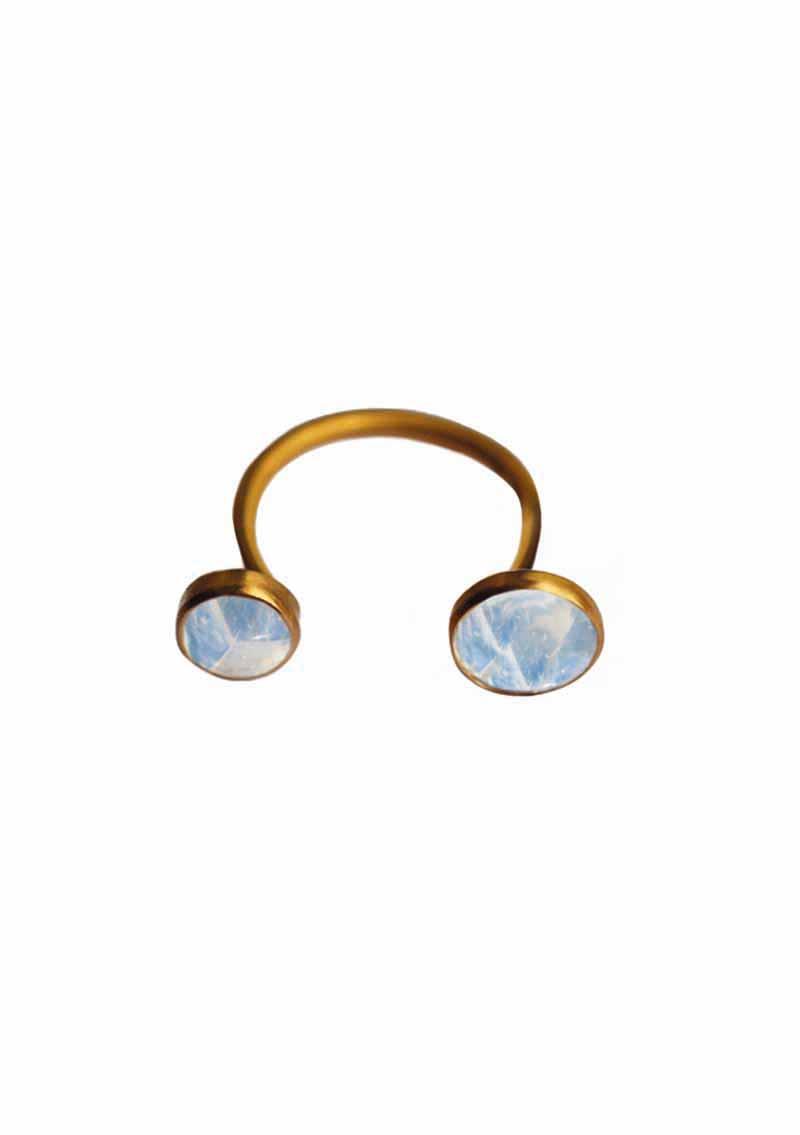 ILU1225M Inseparable ring rainbow moonstone