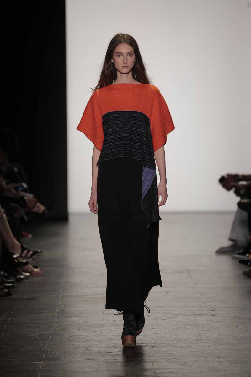 A model walks the runway at the Academy of Art University Spring 2017 Collectuons during New York Fashion Week at The Arc, Skylight at Moynihan Station on September 10, 2016 in New York City.