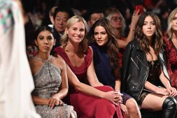 NEW YORK, NY - SEPTEMBER 07: Actress Chrissie Fit, model Niki Taylor, actress Danielle Campbell and actress Chloe Bennet attend the Tadashi Shoji fashion show during New York Fashion Week: The Shows at Gallery 1, Skylight Clarkson Sq on September 7, 2017 in New York City. (Photo by Dia Dipasupil/Getty Images For Tadashi Shoji)