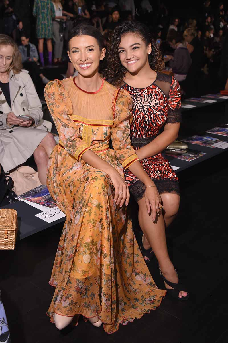NEW YORK, NY - SEPTEMBER 07: Actress India de Beaufort and American gymnast Laurie Hernandez attend the Tadashi Shoji fashion show during New York Fashion Week: The Shows at Gallery 1, Skylight Clarkson Sq on September 7, 2017 in New York City. (Photo by Michael Loccisano/Getty Images For Tadashi Shoji)