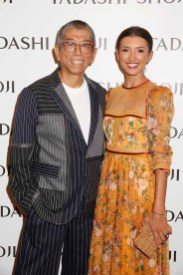 NEW YORK, NY - SEPTEMBER 07: Designer Tadashi Shoji and actress Inda de Beaufort pose backstage before the Tadashi Shoji fashion show at Gallery 1, Skylight Clarkson Sq on September 7, 2017 in New York City. (Photo by Thos Robinson/Getty Images For Tadashi Shoji)