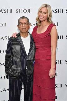 NEW YORK, NY - SEPTEMBER 07: Designer Tadashi Shoji and model Niki Taylor pose backstage before the Tadashi Shoji fashion show at Gallery 1, Skylight Clarkson Sq on September 7, 2017 in New York City. (Photo by Dia Dipasupil/Getty Images For Tadashi Shoji)