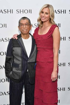 NEW YORK, NY - SEPTEMBER 07: Designer Tadashi Shoji and model Niki Taylor pose backstage before the Tadashi Shoji fashion show at Gallery 1, Skylight Clarkson Sq on September 7, 2017 in New York City. (Photo by Dia Dipasupil/Getty Images For Tadashi Shoji)