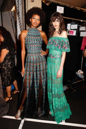 NEW YORK, NY - SEPTEMBER 07: Models prepare backstage for Tadashi Shoji fashion show at Gallery 1, Skylight Clarkson Sq on September 7, 2017 in New York City. (Photo by Thos Robinson/Getty Images For Tadashi Shoji)