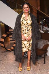 Donna D'Cruz in Max Mara grey feather coat and yellow print dress.