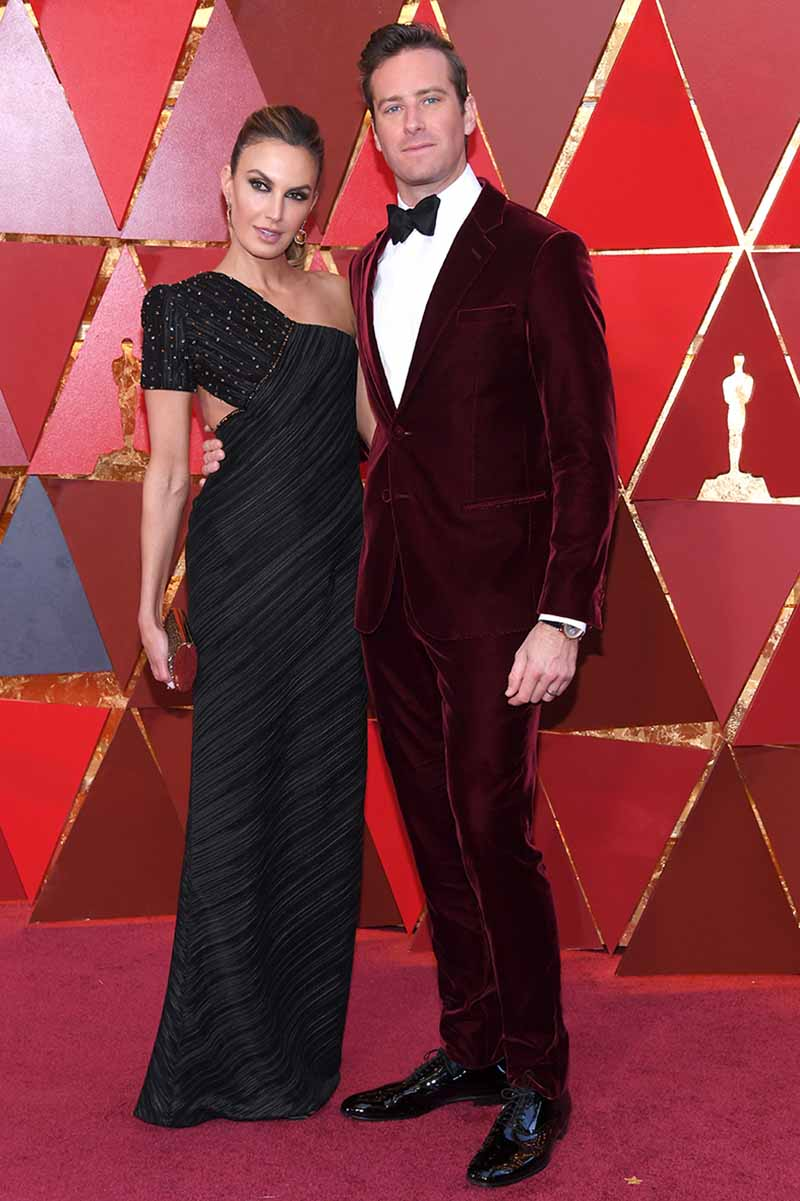 HOLLYWOOD, CA - MARCH 04: Elizabeth Chambers (L) and Armie Hammer attend the 90th Annual Academy Awards at Hollywood & Highland Center on March 4, 2018 in Hollywood, California. (Photo by Kevork Djansezian/Getty Images)