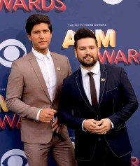 The 53rd Academy of Country Music Awards red carpet is held at the MGM Grand Garden Arena on the Las Vegas Strip. Here singers/songwriters and nominees for Vocal Duo of the Year Dan + Shay walk the ACM red carpet. Sunday, April 15, 2018. CREDIT: Glenn Pinkerton/Las Vegas News Bureau