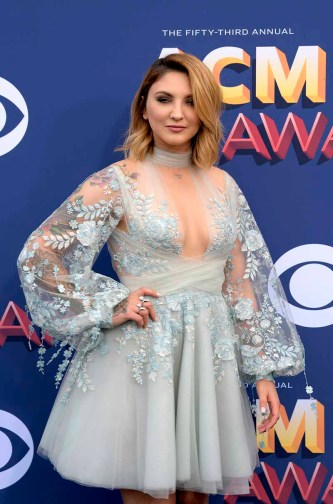 The 53rd Academy of Country Music Awards red carpet is held at the MGM Grand Garden Arena on the Las Vegas Strip. Here singer/songwriter Julia Michaels walks the ACM red carpet. Sunday, April 15, 2018. CREDIT: Glenn Pinkerton/Las Vegas News Bureau